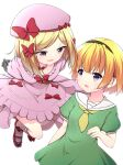2girls absurdres arms_behind_back bangs beret black_hairband blonde_hair bow breasts commentary dress eyebrows_visible_through_hair fang floating full_body gloves green_dress grey_gloves hair_bow hairband hat hat_bow hazumi_otoya highres higurashi_no_naku_koro_ni houjou_satoko kneehighs lambdadelta leaning_back looking_at_another looking_down mary_janes medium_breasts multiple_girls neckerchief open_mouth parted_bangs pink_dress pink_headwear pink_legwear red_bow red_footwear sailor_collar shoes short_hair short_sleeves simple_background skin_fang small_breasts smile striped striped_legwear sweatdrop umineko_no_naku_koro_ni upper_body violet_eyes white_background white_legwear white_sailor_collar yellow_eyes yellow_neckwear