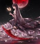 arm_up black_dress black_hair chinese_commentary commentary_request dress earrings erbagongzi evernight_goddess flower holding holding_weapon jewelry long_hair looking_to_the_side lord_of_the_mysteries moon night on_ground red_moon reflection reflective_floor scythe sitting solo solo_focus space weapon