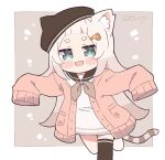 1girl animal_ear_fluff animal_ears animal_hat bangs_pinned_back blue_eyes blush_stickers borrowed_character cardigan cat_ears cat_girl cat_hat cat_tail chibi commentary dress english_commentary hair_ornament hairclip hat hikimayu kukie-nyan long_hair looking_at_viewer original oversized_clothes running sailor_collar sailor_dress short_dress short_eyebrows single_thighhigh sleeves_past_fingers sleeves_past_wrists slit_pupils solo tail thick_eyebrows thigh-highs twitter_username white_hair