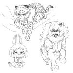 3girls :3 afei_(sfma3248) all_fours animal_ears animal_print bangs between_legs bow branch chibi claws elbow_gloves fangs fur_collar gloves greyscale hand_between_legs highres in_tree kemono_friends leopard_(kemono_friends) leopard_ears leopard_print leopard_tail lion_(kemono_friends) lion_ears lion_girl long_hair looking_at_viewer looking_down monochrome multiple_girls neckerchief open_mouth serval_(kemono_friends) serval_print sharp_teeth short_hair short_sleeves sitting sitting_in_tree skirt smile squatting tail teeth tree