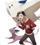 1boy backpack backwards_hat bag baseball_cap black_hair black_shirt capri_pants clenched_hands commentary_request espeon ethan_(pokemon) grey_bag grove_152 hat highres jacket long_sleeves male_focus open_mouth pants pokemon pokemon_(creature) pokemon_(game) pokemon_hgss red_jacket shirt short_hair teeth togekiss tongue white_background zipper_pull_tab