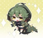 1girl :d ahoge bangs black_bow black_legwear black_shorts blush bow breasts brown_eyes cape character_request chibi commentary_request eyebrows_visible_through_hair fang full_body gradient gradient_background green_cape green_hair hair_between_eyes hair_ornament hairclip highres hood hood_up hooded_cape looking_at_viewer medium_breasts milkpanda monster_hunter_(series) navel no_shoes open_mouth personification polka_dot polka_dot_background short_eyebrows short_shorts shorts smile socks solo sparkle spiked_tail tail thick_eyebrows white_background