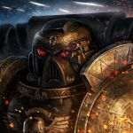 1boy adeptus_astartes ameen_naksewee armor backpack bag commentary commission deathwatch english_commentary facing_viewer full_armor helmet male_focus pauldrons portrait shoulder_armor solo warhammer_40k