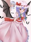 2girls alternate_hairstyle ascot bangs bat bat_wings blood blush bow brooch closed_eyes commentary_request dress drooling emerald_(gemstone) frilled_dress frilled_hat frills hair_ribbon hat hat_bow hat_ribbon highres jewelry looking_at_viewer maid maid_headdress mob_cap multiple_girls nosebleed open_mouth peeking pink_dress pointy_ears pout puffy_short_sleeves puffy_sleeves purple_hair red_bow red_eyes red_neckwear red_sash remilia_scarlet remitei03 ribbon sash short_sleeves silver_hair touhou tress_ribbon twintails upper_body wings wrist_cuffs