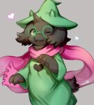 1boy animal_ears black_fur body_fur commentary cowboy_shot deltarune dress fangs furry furry_male glasses goat_boy goat_ears goat_horns goat_tail green_dress green_eyes green_headwear green_robe grey_background hat heart highres horns male_focus one_eye_closed pink_scarf ponpo_ko5 ralsei robe round_eyewear scarf signature simple_background solo standing witch_hat