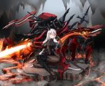 1girl absurdres aegir_(azur_lane) asymmetrical_footwear azur_lane black_cape black_gloves black_skirt bodystocking boots breast_curtains breasts cape cave chain cross cross-laced_clothes cross_earrings demon_horns earrings elbow_gloves fire full_body gloves high_heels highres horns impossible_clothes iron_cross jewelry knee_boots large_breasts long_hair looking_at_viewer mechanical_animal microskirt molten_rock multicolored_hair outdoors redhead rigging single_knee_boot sitting skirt sleeves solo streaked_hair underbust uneven_footwear very_long_hair white_hair xingyuuyuedeqinghua yellow_eyes