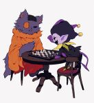 board_game buttons cat chair chess chess_piece chessboard colored_skin deltarune fang hat highres jester_cap jevil no_humans orange_tunic patch playing_games purple_fur purple_skin scar seam_(deltarune) simple_background smile table tail tunic white_background y_o_u_k_a