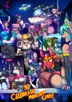 6+girls ? alien animal_ears animal_print arthropod_girl bar_stool bartender beer_mug bell belt blue_eyes bracelet brown_hair business_suit cat_girl cellphone china_dress chinese_clothes collar cow_ears cow_girl cow_horns cow_print cow_tail cowbell cup cyborg dark-skinned_female dark_skin demon_girl demon_horns dj dog_girl dog_tail dragon_girl dress eldritch_abomination english_text evening_gown extra_arms extra_eyes fingerless_gloves formal fountain fur fur_trim giant giantess gloves headphones highres hood hoodie horns jewelry lamia long_hair mandragora monster monster_girl mug multicolored_hair multiple_girls nail_polish navel neck_bell nintendo_switch office_lady original phone piercing pointy_ears pole_dancing record ryuusei_(mark_ii) scales sitting size_difference sky slime_girl smartphone smile speaker spider_girl spiked_bracelet spikes star_(sky) starry_sky stool streaked_hair striped striped_legwear suit tail tentacle_hair tongue tongue_out tongue_piercing ufo zombie