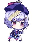 1girl absurdres azur_lane bangs bead_necklace beads cape chibi chinese_clothes coin_hair_ornament commentary english_commentary eyebrows_visible_through_hair full_body genshin_impact hair_between_eyes hat highres jewelry jiangshi kneeling long_hair long_sleeves low_ponytail necklace ofuda parody purple_hair qing_guanmao qiqi_(genshin_impact) sidelocks simple_background solo style_parody svol tearing_up thigh-highs violet_eyes white_background white_legwear zettai_ryouiki