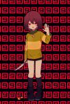 1other :d ahoge bangs black_legwear blush boots brown_footwear brown_hair brown_shorts chara_(undertale) commentary_request full_body green_sweater heart heart_necklace highres long_sleeves looking_at_viewer open_mouth red_eyes short_hair shorts smile socks solo sweater undertale waving y_o_u_k_a