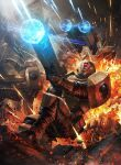 2others action ambiguous_gender ameen_naksewee battle drone explosion fighting firing gun highres holding holding_gun holding_weapon multiple_others one_knee tau warhammer_40k weapon