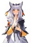 1girl arknights armband blush breasts clipboard coat commentary cowboy_shot dress eyebrows_visible_through_hair feather_trim grey_coat hand_to_own_mouth holding holding_clipboard looking_at_viewer medium_breasts medium_hair nail_polish open_clothes open_coat orange_eyes orange_nails owl_ears parted_lips ptilopsis_(arknights) rhine_lab_logo silver_hair simple_background solo white_background white_dress yayako_(804907150)