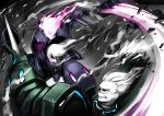 battle blade blue_eyes clenched_teeth colored_skin disembodied_head dullahan fire holding holding_weapon huge_weapon mace original power_armor ryuusei_(mark_ii) swinging teeth violet_eyes weapon white_hair white_skin