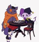 :3 :d ? buttons cat chair chess_piece chessboard colored_skin covering_mouth deltarune fang hand_over_own_mouth hat highres jester_cap jevil lancer_(deltarune) looking_at_viewer no_humans notice_lines open_mouth orange_tunic patch playing_games purple_fur purple_skin scar seam_(deltarune) simple_background smile table tail tunic white_background y_o_u_k_a