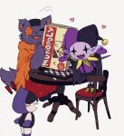 :3 :d black_cape board_game buttons cape cat chair chess_piece chessboard colored_skin deltarune fang hat heart highres jester_cap jevil lancer_(deltarune) monopoly no_humans open_mouth orange_tunic patch playing_games purple_fur purple_skin scar seam_(deltarune) sharp_teeth simple_background smile table tail teeth tunic white_background y_o_u_k_a