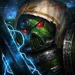 1boy adeptus_astartes ameen_naksewee armor commentary commission dark_angels english_commentary facing_viewer full_armor helmet holding holding_sword holding_weapon hood hood_up male_focus solo sword warhammer_40k weapon