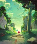 2others absurdres building bush chain-link_fence character_request commentary_request cracked_floor cracked_wall facing_away fence flower full_body grass green_theme highres kirby kirby_and_the_forgotten_land multiple_others ruins sky suyasuyabi tree utility_pole walking weeds