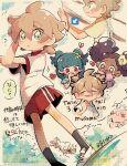 +_+ arrow_(symbol) bangs big_hair black_legwear blonde_hair blunt_bangs blush bracelet character_request commentary_request dreepy eyebrows_visible_through_hair frillish frillish_(female) gender_request gengar green_eyes green_hair hair_between_eyes hairband heart highres jewelry kudou_(gst910) momo_(pokemon) parted_lips pokemon pokemon_(anime) pokemon_(creature) poketoon red_eyes red_shorts shirt shoes shoko_(pokemon) short_sleeves shorts sleeves_past_fingers sleeves_past_wrists smile socks translation_request white_footwear white_shirt