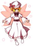 1girl 221_(tsutsuichi) bangs blonde_hair blush bow bowtie commentary_request cosplay dress fairy_wings full_body green_eyes hat hat_bow lily_white lily_white_(cosplay) long_sleeves looking_at_viewer mizuhashi_parsee no_shoes open_mouth pointy_ears red_bow red_neckwear short_hair socks solo touhou white_background white_dress white_headwear white_legwear wings