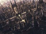 absurdres arch bell bridge building city cityscape commentary_request fantasy from_above highres no_humans original scenery spire tower window yanyan_(shinken_gomi)