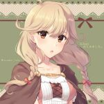 1girl awayuki_ramika braid brown_eyes brown_hair collarbone copyright_name dotted_background dress faye_(fire_emblem) fire_emblem fire_emblem_echoes:_shadows_of_valentia flipped_hair green_background hair_ribbon heart long_hair looking_at_viewer low-braided_long_hair open_mouth red_ribbon ribbon solo twin_braids twitter_username upper_body