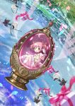 1girl :d blue_background bow box bubble_skirt eyebrows_visible_through_hair full_body gift gift_box goddess_madoka hand_up highres hoshikage_wataru kaname_madoka lake looking_at_viewer magical_girl mahou_shoujo_madoka_magica open_mouth outstretched_arms pink_eyes pink_hair short_hair short_twintails sitting skirt smile solo soul_gem twintails water wings