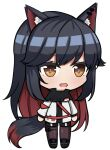 1girl :o animal_ears arknights azur_lane bangs black_hair chibi hair_ornament jacket looking_at_viewer multicolored_hair open_mouth orange_eyes parody simple_background solo style_parody svol tail texas_(arknights) transparent_background white_jacket wolf_ears wolf_girl wolf_tail