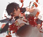 1boy bangs black_gloves black_wings bracelet chain chinese_new_year chinese_text dark_skin earrings firecrackers floral_print gloves hair_between_eyes happy_new_year hongbao jewelry knot kumashige looking_at_viewer medium_hair new_year original pig ponytail red_ribbon ribbon solo tassel tassel_earrings traditional_chinese_text wings