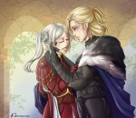 1boy 1girl alternate_hairstyle artist_name blonde_hair cape clenched_teeth closed_eyes commission couple crying cute dimitri_alexandre_blaiddyd edelgard_von_hresvelg fire_emblem fire_emblem:_three_houses fire_emblem_heroes gloves hug incest instagram_username intelligent_systems kirskernink long_hair love nintendo sad side_ponytail tears timeskip tumblr_username twitter_username white_hair worried young_adult