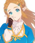 1girl :o blonde_hair blue_shirt braid elf fingerless_gloves forehead gloves gold_trim green_eyes hair_ornament hairclip hand_up highres long_hair long_sleeves looking_at_viewer open_mouth oy_ils pointy_ears princess_zelda shirt shirt_under_shirt sidelocks simple_background solo the_legend_of_zelda the_legend_of_zelda:_breath_of_the_wild white_background wide_sleeves