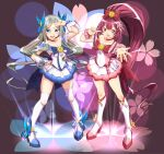 2girls alternate_costume anchor asakaze_(kancolle) blue_background blue_bow blue_choker blue_eyes blue_skirt blush boots bow choker cosplay cure_blossom cure_blossom_(cosplay) cure_marine cure_marine_(cosplay) dated dress eyebrows_visible_through_hair floral_background forehead full_body gift gradient gradient_background hair_bow hair_ornament heartcatch_precure! high_heel_boots high_heels high_ponytail highres kamikaze_(kancolle) kantai_collection kneehighs light_brown_hair long_hair magical_girl moke_ro multiple_girls open_mouth outstretched_arm pink_background pink_choker pink_dress precure purple_bow purple_footwear purple_hair short_sleeves skirt smile thigh-highs twitter_username very_long_hair violet_eyes white_dress white_legwear