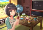 1girl absurdres akiyama0818 bangs black_eyes black_hair blunt_bangs blush controller cup day electric_fan eyebrows_visible_through_hair game_console game_controller game_over highres indoors plate radio shirt short_sleeves solo super_famicom t-shirt table tatami television tissue_box