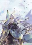 1boy arknights bangs beard cloak facial_hair feather_hair grey_hair hellagur_(arknights) long_hair looking_up mustache old parted_bangs parted_lips ren-co signature solo upper_body yellow_eyes