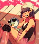1girl arm_support bangs bare_arms beanie blunt_bangs blush boots brown_eyes commentary dawn_(pokemon) grey_eyes hair_ornament hairclip hand_up hat head_rest highres one_eye_closed open_mouth over-kneehighs pink_footwear pink_skirt piplup pokemon pokemon_(creature) pokemon_(game) pokemon_dppt red_scarf scarf sheery_sbox shirt sitting skirt sleeveless sleeveless_shirt smile star_(symbol) sunglasses teeth thigh-highs white_headwear