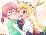 2girls ara_(sora-ageha) blonde_hair blush breast_press breasts brown_eyes brown_hair cheek-to-cheek closed_mouth dragon_girl dragon_tail eyebrows_visible_through_hair fang glasses gloves green_sweater heads_together heart heart_background holding_hands horns kobayashi-san_chi_no_maidragon kobayashi_(maidragon) large_breasts maid maid_headdress multiple_girls one_eye_closed open_mouth puffy_short_sleeves puffy_sleeves red_eyes red_neckwear short_sleeves small_breasts smile sweatdrop sweater tail tohru_(maidragon) white_gloves yuri
