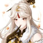 1girl black_gloves claw_ring commentary_request dengxunfan dress finger_to_mouth fur-trimmed_dress fur_trim gem genshin_impact gloves hair_ornament hair_rings hair_stick highres long_hair looking_at_viewer ningguang_(genshin_impact) red_eyes solo tassel white_background white_hair