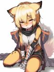 1girl absurdres animal_ears animal_nose arknights arm_wrap black_cloak black_gloves blonde_hair blush body_fur cloak commentary crop_top ear_piercing eyebrows_visible_through_hair fingerless_gloves fox_ears fox_girl fox_tail furrification furry furry_female gloves hair_between_eyes hair_ornament hairclip highres hood hood_down hooded_cloak looking_at_viewer notched_ear orange_eyes oripathy_lesion_(arknights) piercing prosthesis prosthetic_arm seiza shirt simple_background single_glove sitting solo tab_head tail tooth_necklace vermeil_(arknights) white_background white_shirt