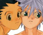 2boys bangs black_hair blue_eyes cheek-to-cheek closed_mouth face gon_freecss green_eyes hair_between_eyes heads_together highres hunter_x_hunter killua_zoldyck looking_to_the_side male_focus multiple_boys portrait silver_hair simple_background toripippi_7 white_background