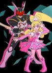 1boy 1girl aida_mana asdge23 bike_shorts bike_shorts_under_skirt blonde_hair boots bow_(weapon) company_connection crossover cure_heart dokidoki!_precure dress high_ponytail highres holding holding_bow_(weapon) holding_weapon kamen_rider kamen_rider_blade_(series) kamen_rider_chalice knee_boots open_mouth pink_dress pink_eyes pink_footwear pink_shorts pink_sleeves precure shorts smile weapon