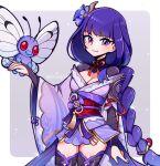butterfly kimono purple_hair raiden_(genshin_impact) raiden_shogun smile touyarokii