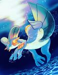 air_bubble blurry bubble closed_mouth commentary_request full_body fusenryo highres no_humans orange_eyes pokemon pokemon_(creature) solo swampert swimming underwater