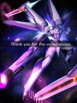 absurdres commission english_commentary firing from_above funnels gun highres holding holding_gun holding_weapon khaizer mecha no_humans open_hand original pink_eyes science_fiction solo space uwu watermark weapon