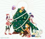 1girl 2boys :d bangs barry_(pokemon) blonde_hair boots brown_footwear brown_legwear brown_pants buttons chimchar christmas_lights christmas_tree closed_eyes coat commentary_request dawn_(pokemon) drifloon fire flame green_scarf hair_ornament hairclip hat holding jacket long_hair lucas_(pokemon) memi_(gamemix) multiple_boys on_head open_mouth over-kneehighs pachirisu pants piplup pokemon pokemon_(creature) pokemon_(game) pokemon_dppt pokemon_on_head pokemon_platinum red_coat red_headwear santa_hat scarf shoes short_hair smile snover spiky_hair striped striped_jacket themed_object thigh-highs turtwig twitter_username white_scarf