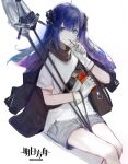 1girl arknights artist_request bangs black_gloves black_jacket blue_eyes blue_hair closed_mouth commentary_request copyright_name demon_horns eating expressionless eyebrows_visible_through_hair feet_out_of_frame food gloves highres holding holding_food horns jacket long_hair looking_at_viewer mostima_(arknights) pocky shirt sitting solo staff white_background white_gloves
