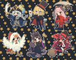 6+girls :d animal_ears ao-chan_(ninomae_ina'nis) aqua_hair asymmetrical_footwear bangs black_cape black_capelet black_footwear black_hair black_headwear black_pants black_robe black_vest blonde_hair blue_hair book boots bow bowtie broom broom_riding cane cape capelet cat_ears chicken_costume crown demon_tail earrings fake_facial_hair fake_mustache feather_earrings feathers fish_tail gawr_gura gloves gradient_hair halloween_costume hat high_heel_boots high_heels holding holding_book holding_broom holding_cane holding_letter holding_scythe holding_wand hololive hololive_english horns irys_(hololive) jewelry letter long_hair mismatched_footwear monocle mori_calliope multicolored_hair multiple_girls ninomae_ina'nis one_eye_closed open_mouth orange_hair pants pink_hair pirate_costume pirate_hat quasarcake red_neckwear red_pants red_suit redhead robe scythe shark_tail sharp_teeth short_hair sidelocks smile sparkle_print star_(symbol) star_print streaked_hair tail takanashi_kiara teeth tentacle_hair tentacles top_hat two-tone_cape veil vest virtual_youtuber wand watson_amelia white_capelet white_footwear white_gloves white_hair witch_hat wizard_hat