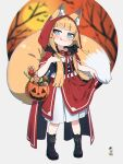 1girl animal_ear_fluff animal_ears bangs black_bow black_footwear blue_eyes blunt_bangs boots bow brown_hair candy candy_cane cape closed_mouth commentary commission cross-laced_footwear dress eyebrows_visible_through_hair food fox_ears fox_girl fox_tail full_body hair_bow halloween halloween_bucket highres hood hood_up hooded_cape kuro_kosyou lace-up_boots licking_lips lollipop long_hair looking_at_viewer low_twintails original pleated_dress red_cape red_skirt short_eyebrows skeb_commission skirt smile solo standing swirl_lollipop tail thick_eyebrows tongue tongue_out twintails very_long_hair white_dress
