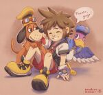 1boy bird blue_headwear brown_hair cosplay dog dog_(duck_hunt) donald_duck donald_duck_(cosplay) duck duck_(duck_hunt) duck_hunt fingerless_gloves gloves goggles goggles_on_headwear goofy goofy_(cosplay) highres hood hoodie khiuly kingdom_hearts large_shoes looking_at_another red_shorts shoes shorts sidelocks sora_(kingdom_hearts) super_smash_bros. yellow_footwear yellow_headwear