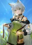 1girl absurdres ajune9 animal_ear_fluff animal_ears arknights black_choker blue_sky blurry bokeh cat_ears cat_girl chinese_commentary choker closed_mouth collarbone depth_of_field expressionless eyebrows_visible_through_hair frown green_eyes hair_between_eyes highres kal'tsit_(arknights) looking_at_viewer o-ring sky solo unfinished white_hair wide_sleeves