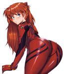 1girl ass blue_eyes blush bodysuit from_behind hair_over_shoulder interface_headset kevbot leaning_forward legs_together long_hair looking_at_viewer looking_back neon_genesis_evangelion orange_hair pantylines plugsuit red_bodysuit shiny shiny_clothes shoulder_pads solo souryuu_asuka_langley white_background wide_hips