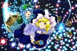 2girls backpack bag bangs blonde_hair blue_capelet blue_dress blue_eyes blue_footwear blue_hair blue_headwear blue_shirt blue_skirt blush_stickers boots bow broom broom_riding capelet collared_shirt commentary_request danmaku dress flat_cap frilled_capelet frilled_dress frilled_shirt_collar frills full_body green_headwear grin hair_bobbles hair_bow hair_ornament hat hat_bow hexagram highres kawashiro_nitori key kirisame_marisa long_hair long_sleeves looking_at_another medium_hair multiple_girls open_mouth parasite_oyatsu parody rubber_boots shirt shoes skirt sky smile star_(sky) star_(symbol) starry_sky style_parody touhou two_side_up white_bow white_shirt witch_hat yellow_eyes zun_(style)